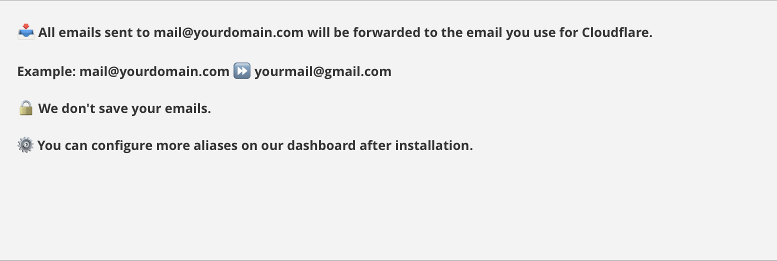 Email Forwarding Cloudflare Apps